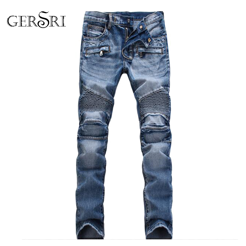 Gersri Men Casual Biker Denim Jeans Stretch Denim Pants Solid Slim Fit Jeans Male Street Skinny Pant Vintage Youth Jeans