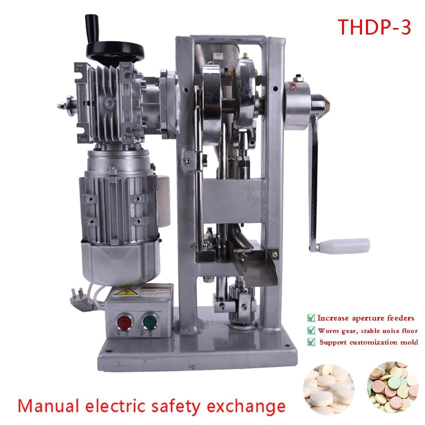 Tabletovací stroj THDP-3 Single Punch Turbine Tablet Machine + lisování prázdné formy Oba motoricky poháněné a rukojeti Ruční pilulka Maker 2700 tablet / h