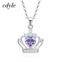 Cdyle Women Pendant Necklace Fashion S925 Sterling Silver Jewelry Heart Shape Purple Crystals Vintage Australian Rhinestone