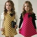 Nova primavera Outono dot vestidos das meninas, roupa dos miúdos das crianças das crianças princesa roupas de gaze vestido da menina do bebê 1 pcs