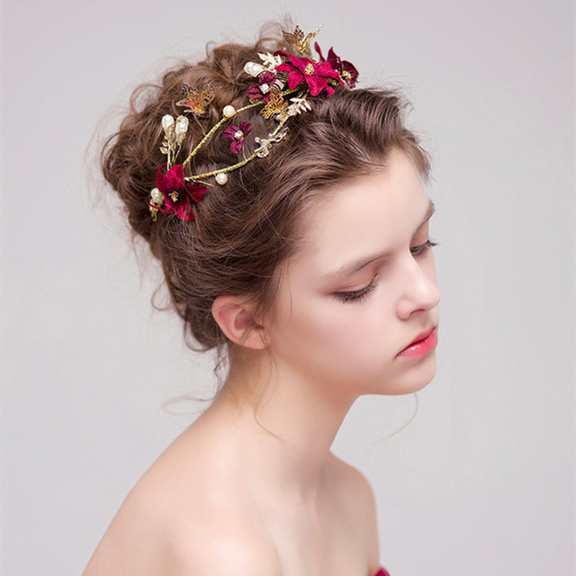gold leaves butterfly wedding headband handmade red flower bridal hairstyles hair accessories bride pearl headpiece part
