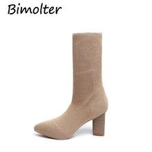 Bimolter New Women Strech Fabric Boots Street Outdoor Girls 7.5cmm High heels Mid-Claf Woman Fashion Shoes PASB001