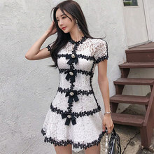 Summer Hollow Out Full Lace Two Piece Vestidos A-Line Mini Bowknot Princess Sexy Dress