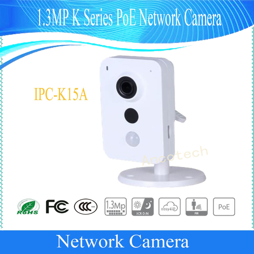 Free Shipping DAHUA Security IP Camera 1.3MP K Series PoE IR Network Camera without Logo IPC-K15A free shipping dahua cctv camera 4k 8mp wdr ir mini bullet network camera ip67 with poe without logo ipc hfw4831e se