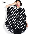 2016 Plus Size 6XL Women Clothing Long Chiffon Shirt Summer Tops Loose Batwing Sleeve White Polka Dot Chiffon Blouse Women Blusa