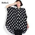 2016 Plus Size 6XL roupas femininas longo Chiffon camisa verão Tops solto Batwing luva branco de bolinhas Chiffon Blusa mulheres Blusa