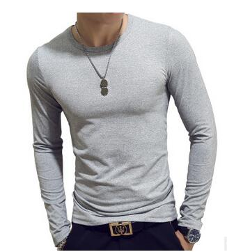 ECTTC 2019 NEW Trendy Summer Men T Shirt Casual Long Sleeve Slim Men's Basic Tops Tees Stretch T-shirt Mens Clothing Chemise Hom
