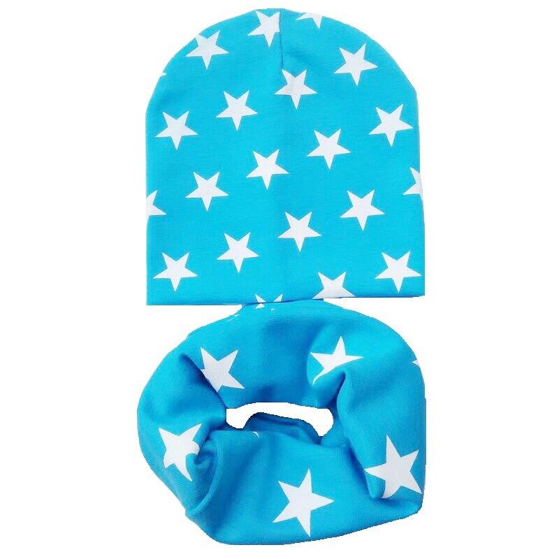 lake blue stars hat scarf