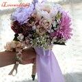 Elegante Handmade Flor Artificial Roxo com Fita Do Casamento Decoração do casamento Bouquet Flores Do Casamento Noivas Bouquets de Noiva