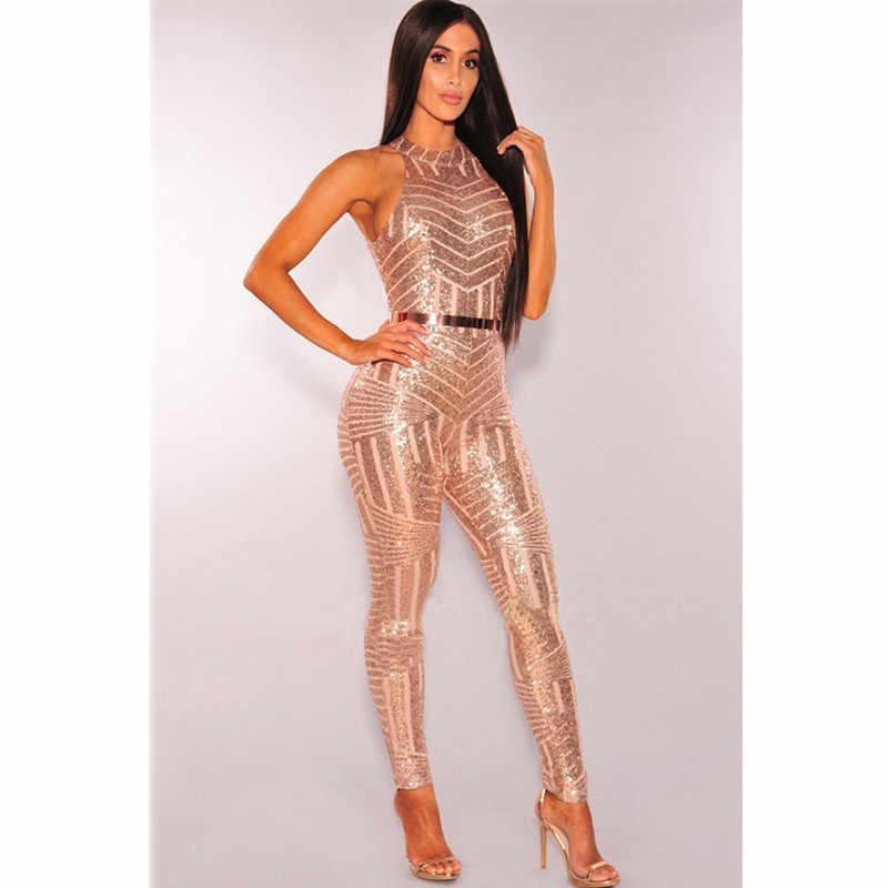 Сексуальный комбинезон с золотыми блестками сетчатый комбинезон летние Для женщин Блеск Бретельки, открытая спина обтягивающий комбинезон для вечеринки, боди, для девушек, платье обтягивающее, клубная одежда