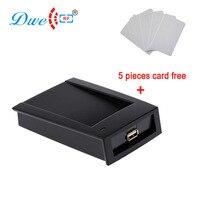 DWE CC número de leitores de cartão de controle de cartão rfid dispositivo de saída RF leitor desktop USB com 5 cartões