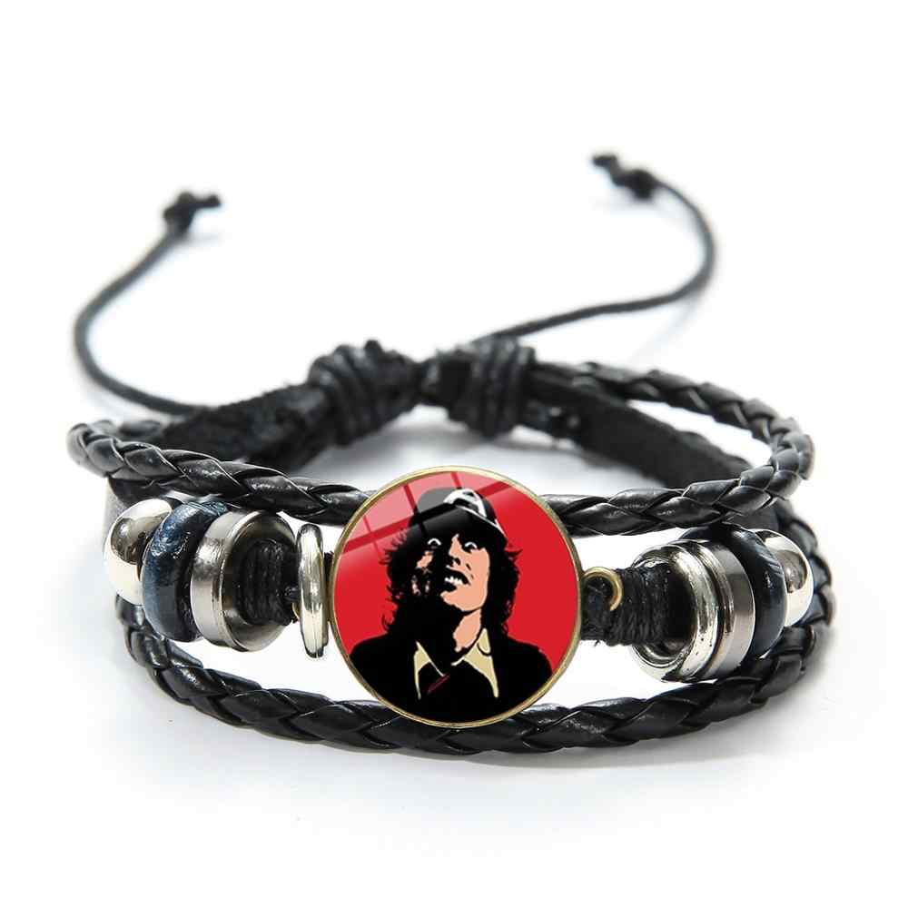 SONGDA ロックバンド Ac/DC 記号ブレスレットポップ音楽ロックンロールバンド文化 ACDC ガラスパンクジュエリー革ブレスレット男性女性