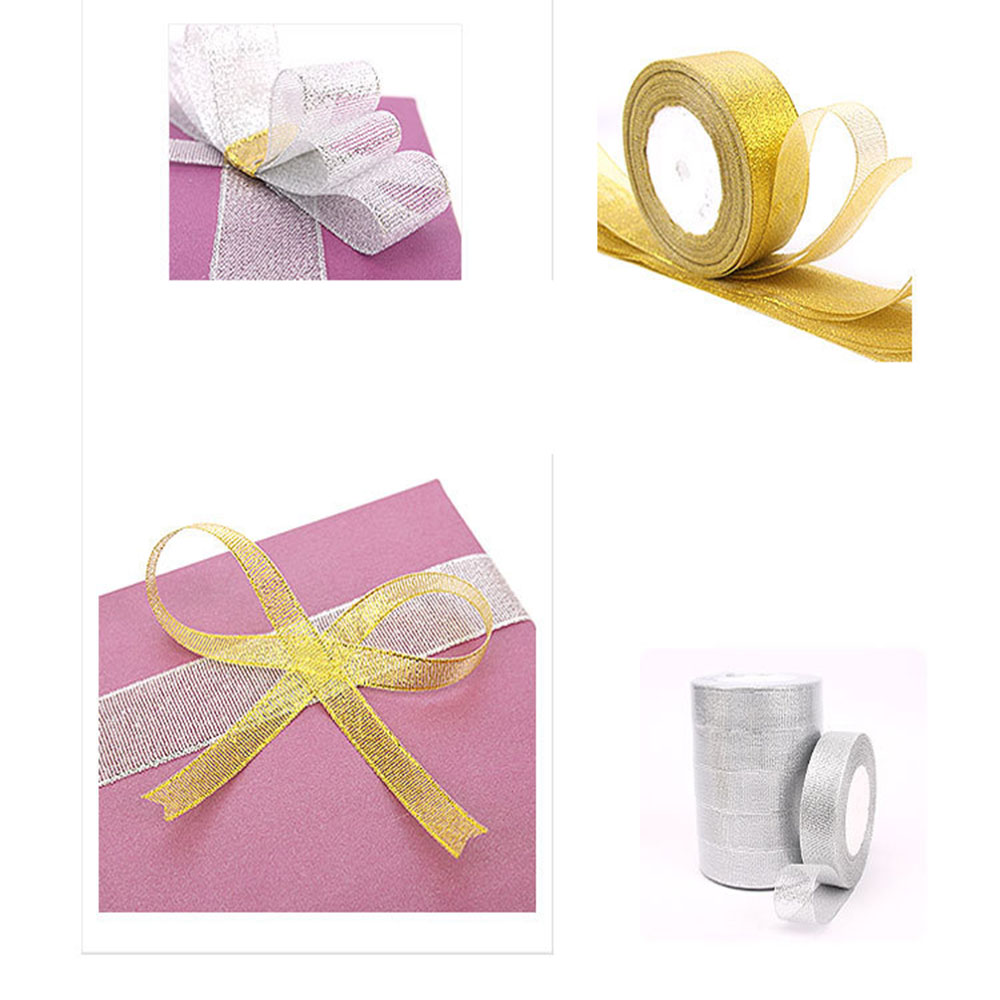 25yards//roll 15mm Sparkle Ribbon Organza Bow Making Silver Gift Package Supplies