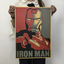 1 Uds. Marvel Hero Iron Man papel Kraft clásico película cartel decoración de pared del hogar Decoración arte Oficina escuela DIY estampados Retro