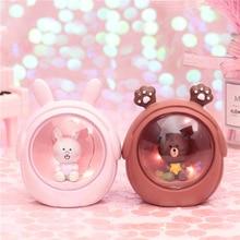 LED Resin Cartoon Rabbit Bear Starry Night Light Bedside Lamps For Baby Kids Desktop Decor  Birthday Xmas Gift Toys