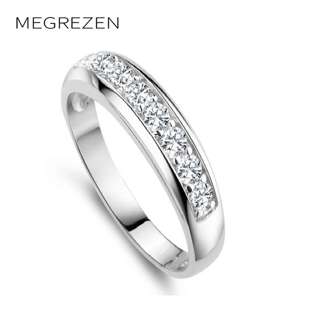 Korean Pretty Austrian Crystals Couple Ring With Stone Men Silver