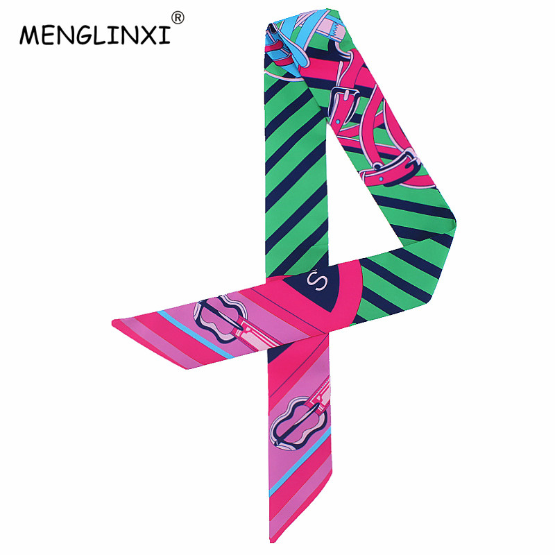 Classic Design Striped Letter Scarf Bag Strap Print Silk Scarf For Women Luxury Brand Scarf Bag Ribbons Fashion Head Scarf C24