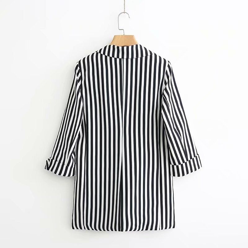 Aliexpress.com : Buy Women Black White Strip Quarter Sleeve Blazer Casual Office  Jackets And Suit Double Pockets Work Clothes Coat Autumn 2018 From Reliable  ...