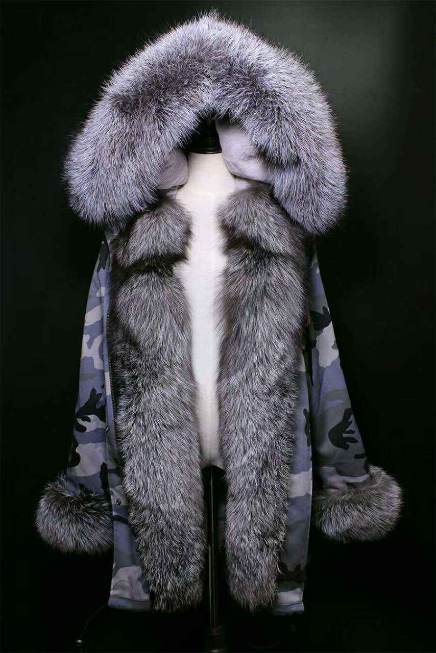 2017 winter new women's fashion  silver  fox fur collar black rex rabbit  lining coat nick garment middle long parka hoodies 2017 winter new clothes to overcome the coat of women in the long reed rabbit hair fur fur coat fox raccoon fur collar
