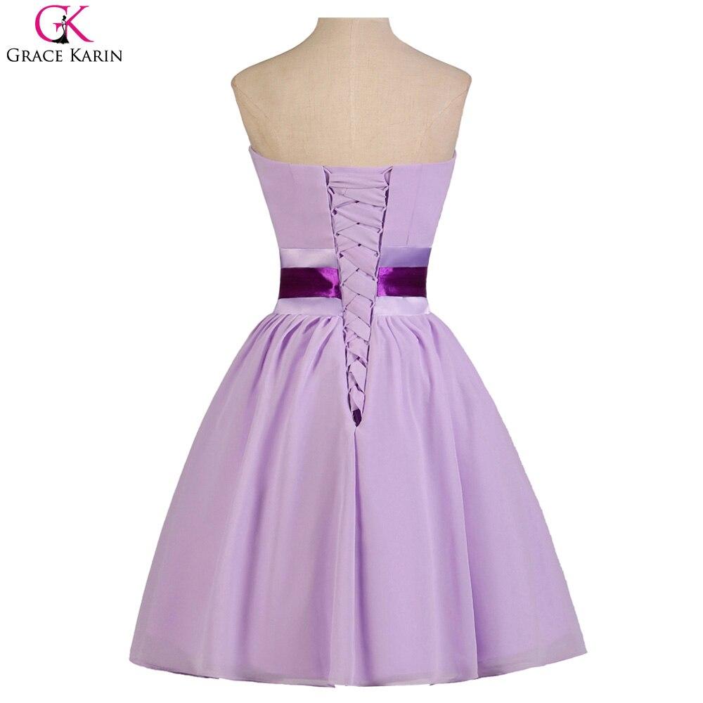 Gracia Karin Vestidos de Coctel Longitud de La Rodilla Gasa Púrpura ...