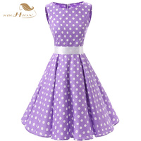 SISHION Purple Women 2016 Summer Dress Sleeveless Tunic Casual Vintage 1950s 60s Party Rockabilly Big Swing