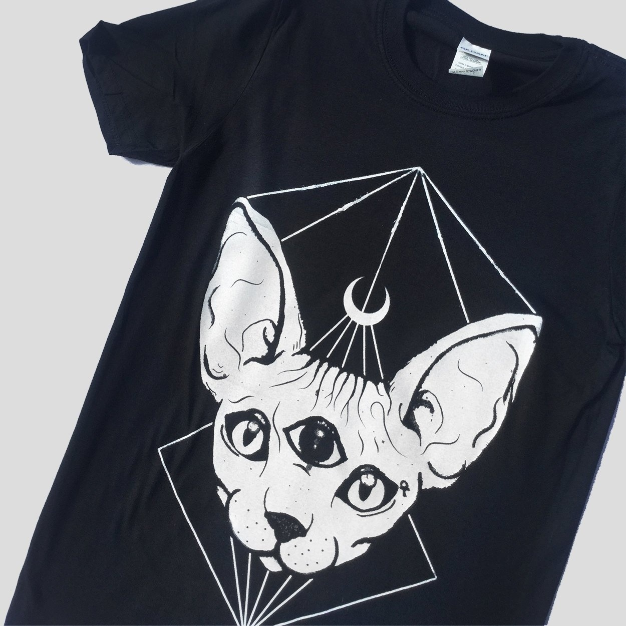 Kuakuayu HJN Punk Gothic Sphynx Cat Head Moon Printed T-shirts Black Witch Symbol Tshirts For Goth Girls Female Cotton Tee Tops