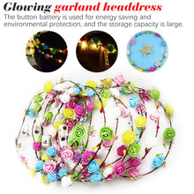 Glowing Garland Wedding Party  Flower Headband LED Light Christmas Wreath Decoration Hair Garlands Hairband Plastic Garland 2017 new 10pcs lot beach hair accessories kids flower headband bohemian style wreath garland girls birthday party hairband
