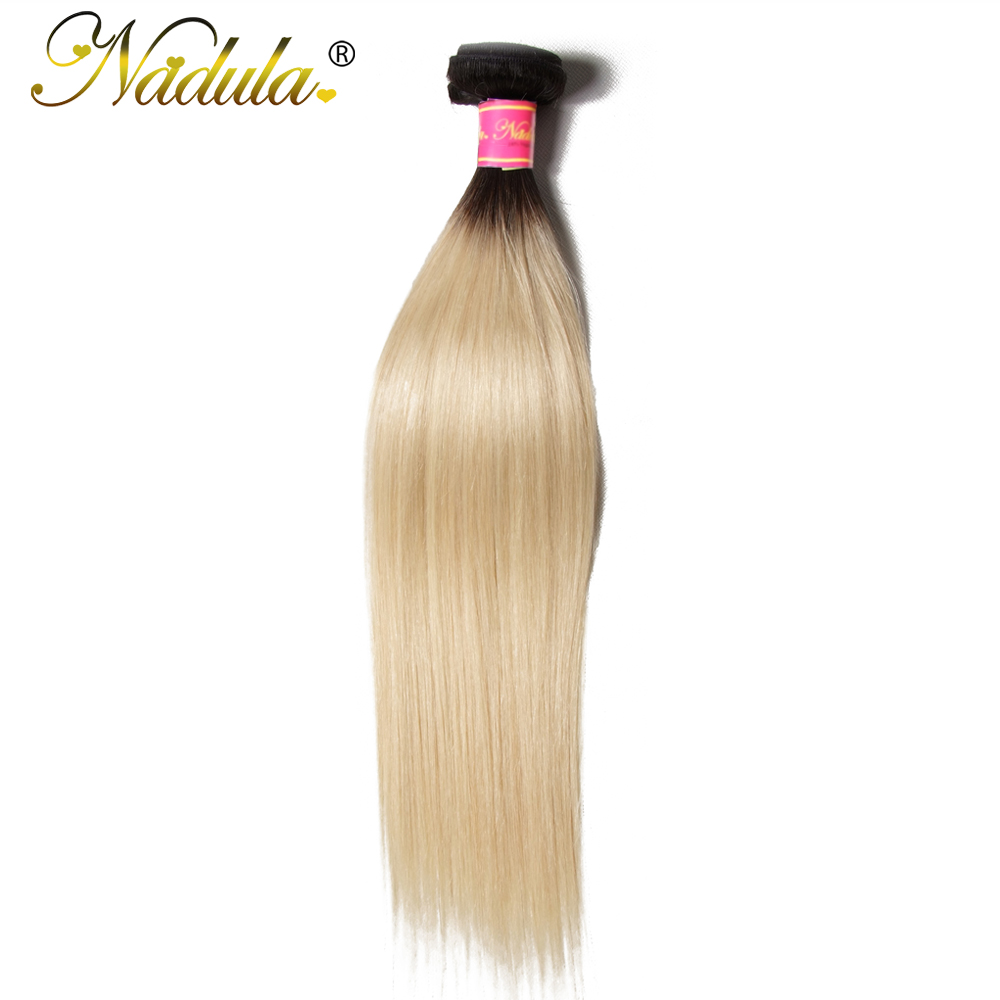 NADULA HAIR 1b 613 bundle Brazilian Straight Hair Ombre Blond Human Hair Weaves 10 20inch Remy
