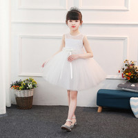 Children Girls Wedding Dresses 2018 White First Communion Dresses With Lace Gown Flower Girl Dress With Bow for Girls E9