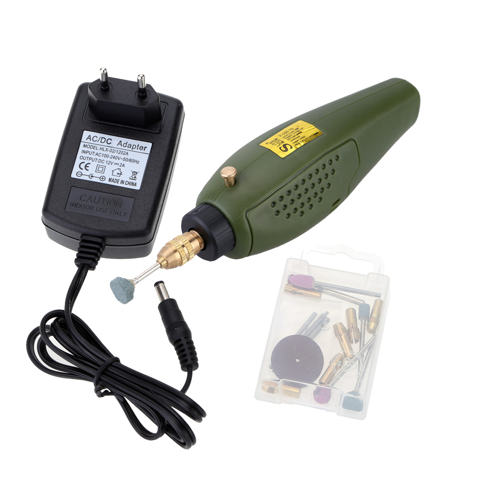 Mini 12V DC Electric dremel drill Electric Grinder Grinding Set for DIY artist Milling Polishing Drilling Cutting Engraving Kit 110 230v mini grinder electric dremel drill engraver regulating speed grinding machine for milling polishing dremel accessories