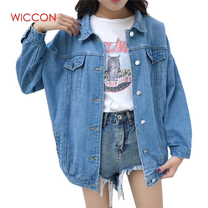 WICCON Denim Jeans Jacket for Women Loose Ripped Vintage Bomber Jackets Basic Coats Woman Spring Autumn Clothes Streetwear Tops