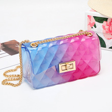Women Jelly Bag Rainbow Candy Color Crossbody Chain PVC Clear Transparent Girl Ladies Messenger Shoulder Bags Summer Mini