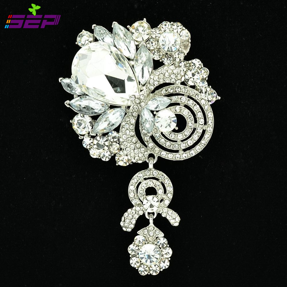 High Quality Drop Brooches Crystals Rhinestone Flower Bouquet Broach Pin for Women Accessories Jewelry 6456
