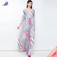 Runway Fashion Designer Maxi Dresses 2018 New Women's Sexy V Neck Hollow Foral Printed Long Party Dress High Quality FREE DHL