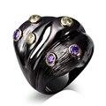 Anéis para as mulheres Anel de cobre Único Preto Banhado A ouro com zircão cúbico anel de dedo preto jóia da forma embarque Free full tamanho