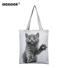 цены EXCELSIOR Women Canvas Handbag Cartoon Cat Printed Shoulder Handbag Bolsa Feminina Canvas Tote Shopping bag sac a main Beach Bag