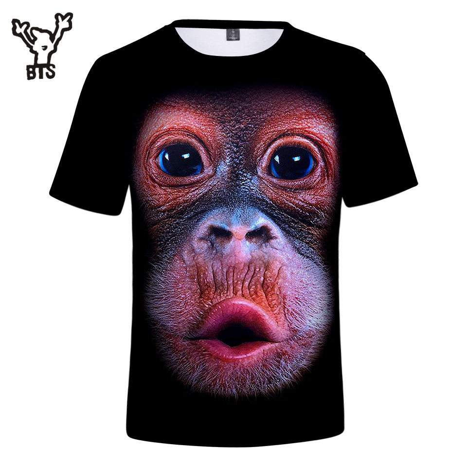 BTS 2018 Hot Sale 3D Lovely Tshirt Fashion Summer Cute Gorilla Comfortable Animal Short Sleeve Men/Women Casual Print Plus Size