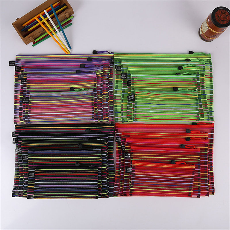 Mrosaa A4 A5 B4 B5 B6 Colorful Nylon Transparent Mesh Bag Data Bag File Folder Stationery Storage Pencil Bag School Supplies