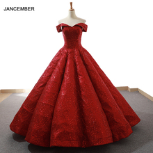 J66671 jancember אדום המפלגה שמלת רצפת אורך מתוקה כבוי כתף אירוע מיוחד שמלות לנשים abiti cerimonia פורמליות