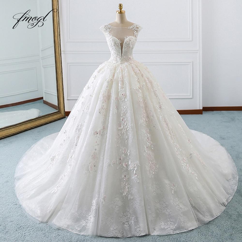 Fmogl Vestido De Noiva Princess Ball Gown Wedding Dresses 2019 Appliques Beaded Flowers Chapel Train Lace Bridal Dress-in Wedding Dresses from Weddings & Events