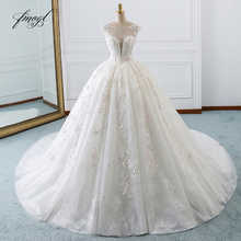 Fmogl Vestido De Noiva Princess Ball Gown Wedding Dresses 2019 Appliques Beaded Flowers Chapel Train Lace Bridal Dress