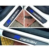 For All Volvo Car Carbon Fiber Car Scuff Sticker Door Sill Sticker For Volvo R DESIGN