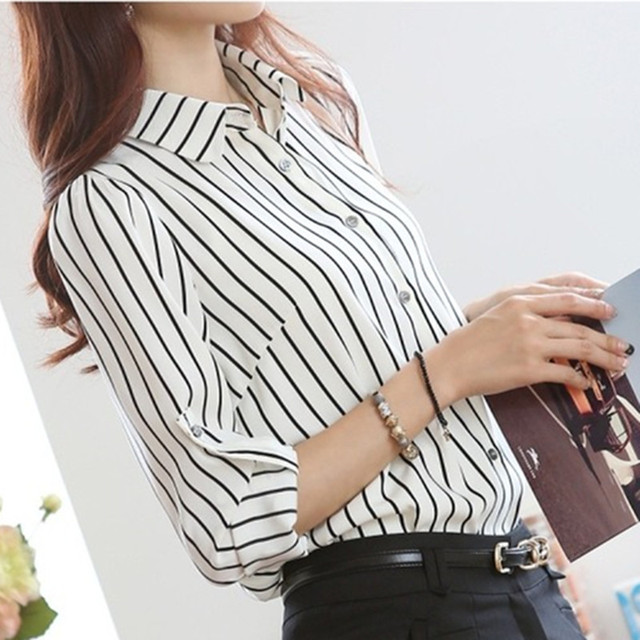 Plus Size Black White Striped Women Top Long Puff Sleeve Formal