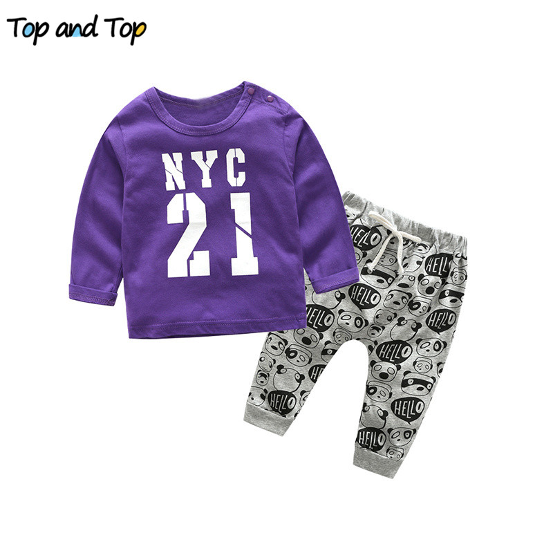 Baby Clothing-Set Newborn T-Shirt Cotton Fashion Top Letter And Pants