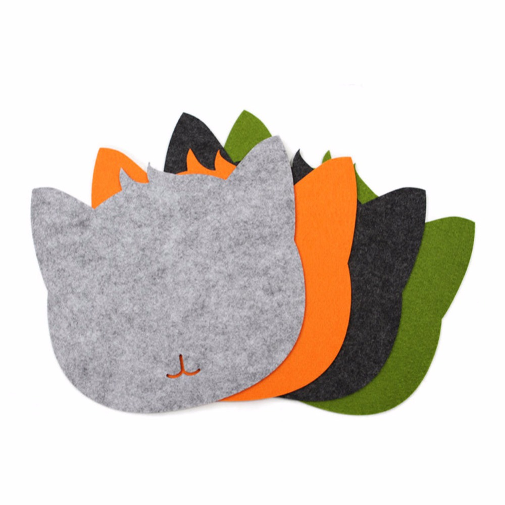 1 Pc Fashion Cute Durable 20cmX20cmX0.3cm Felt Cat-Shaped Mouse Pad for Office & Home & Computer & Game