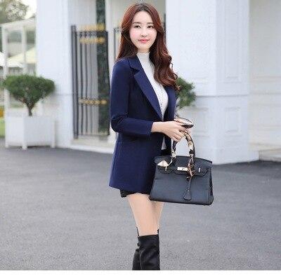 Turn Solide Lady Manteau Col De Office Coréenne Gris Long À Femme Mince down Bouton Pour Laine rouge Mode Bleu marine orange Veste Femmes Mélange Fpw6q