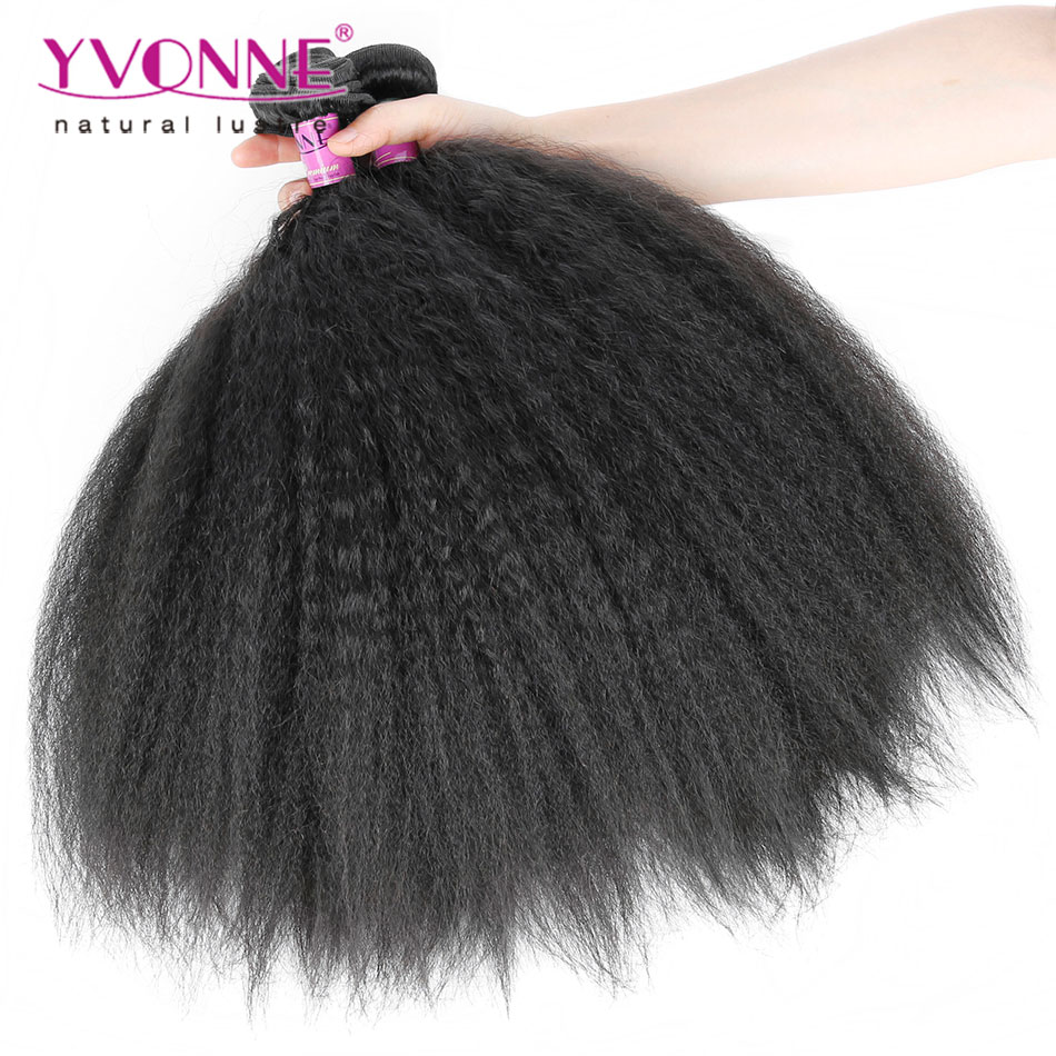 Top Quality Brazilian Hair Weave Bundles,4Pcs/lot Kinky Straight Hair,100% Aliexpress YVONNE Human Hair,Color 1B