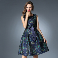 New Plus Size Women Vintage Jacquard Mini Dresses W/Sashes Birds Pattern Red Blue Sexy O-neck Tank Dress Vestidos de festa N618