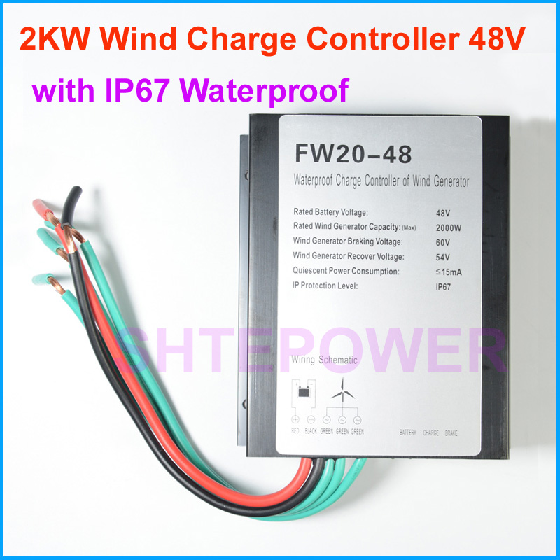 AC 48V wind generator home power system DIY 2000W wind battery charger controller IP67 brake controller