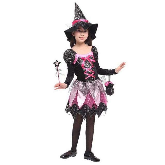 Magic Small Witch Beautiful Sparkling Girls Dress Halloween Children's Clothing Long Sleeve Black-Red One-Piece Dress+ Witch Hat